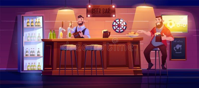 Man in bierbalie zit op hoge stool op houten bureau stock illustratie