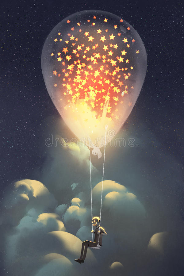 Man and big balloon with glowing stars inside floating in the sky at night royalty free illustration