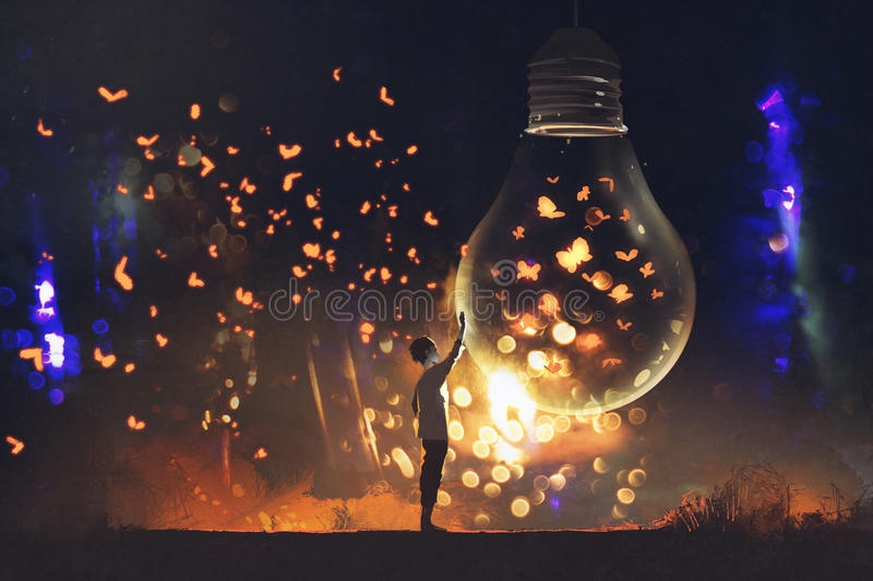 Man and big bulb with glowing butterflies inside stock illustration