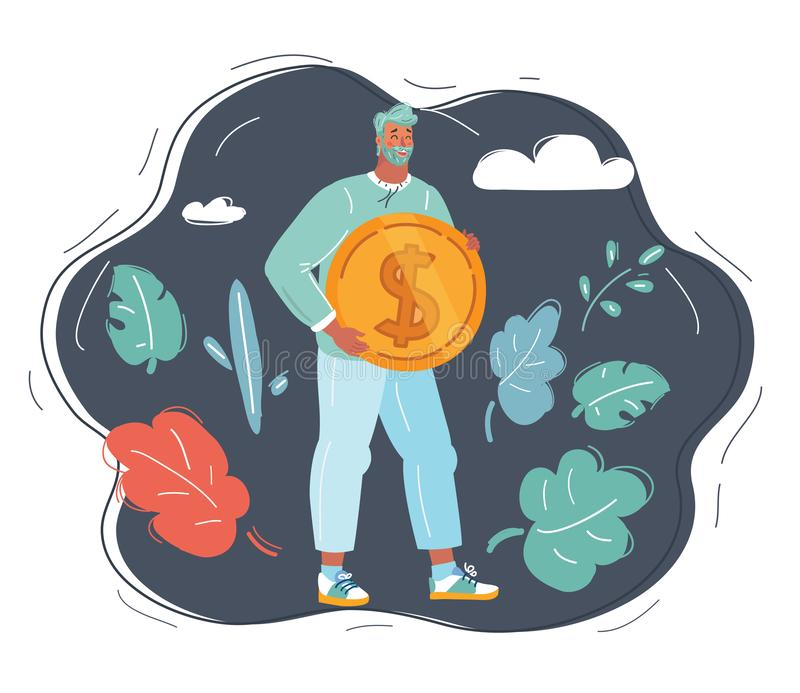 Man with big dollar coin. Vector cartoon illustration of man in office suit pushing big dollar coin infront of him. Human character on dark background vector illustration