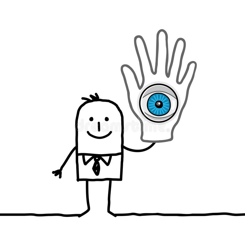 Man with big eye in his hand vector illustration