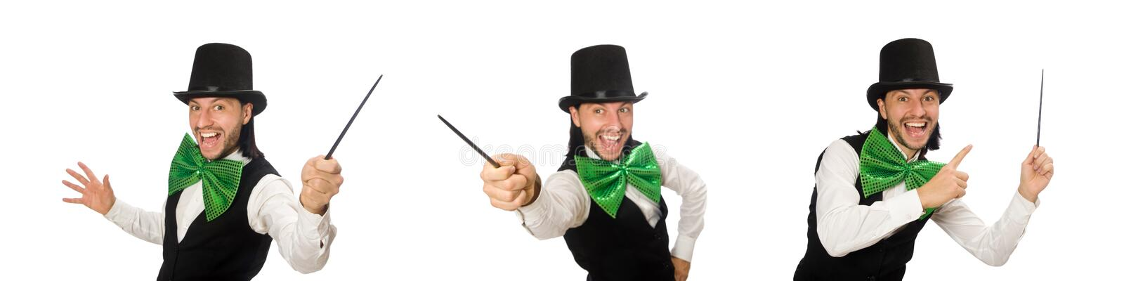 Man with big green bow tie in funny concept stock photos