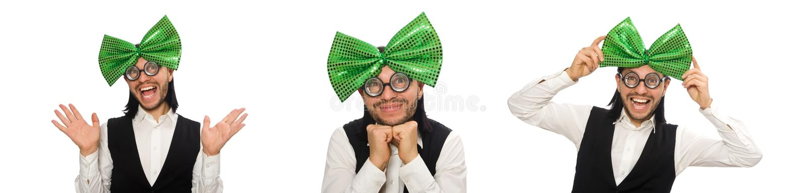 Man with big green bow tie in funny concept royalty free stock photos