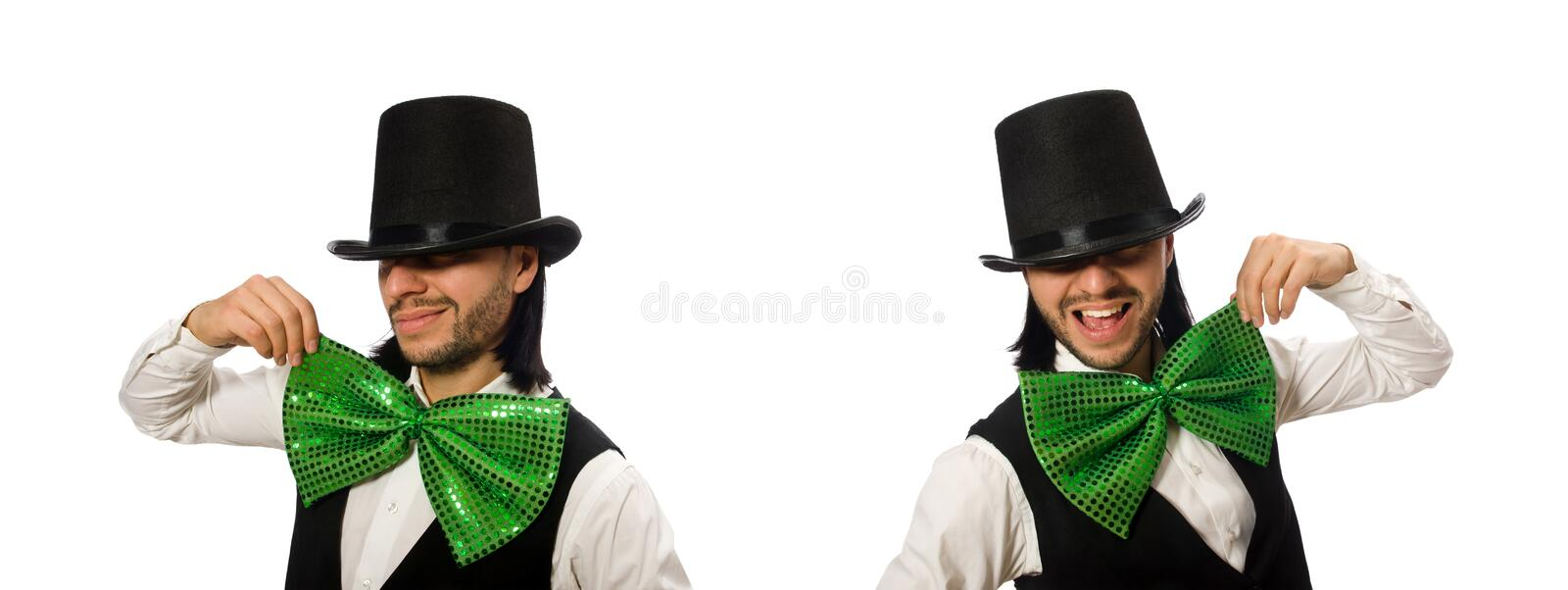 Man with big green bow tie in funny concept royalty free stock photography
