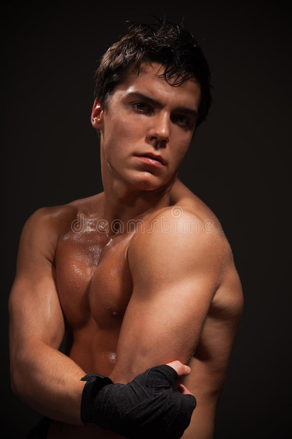 Man with big muscles royalty free stock photo