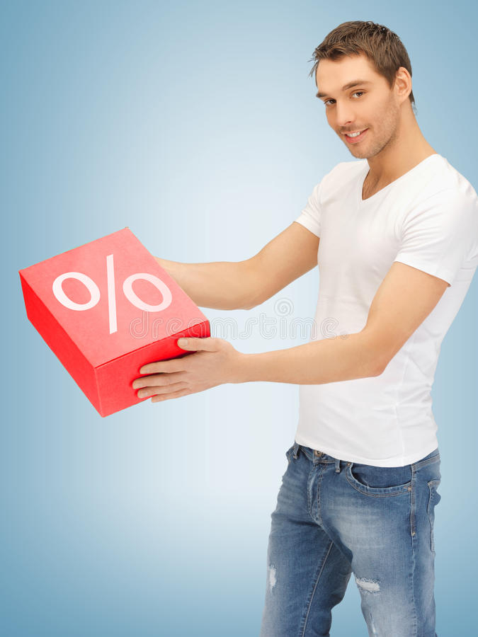 Download Man with big percent box stock photo. Image of parcel - 38285296