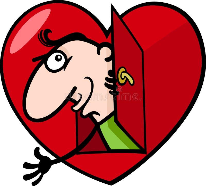 Man In Big Valentine Heart Cartoon Illustration Royalty Free Stock Image