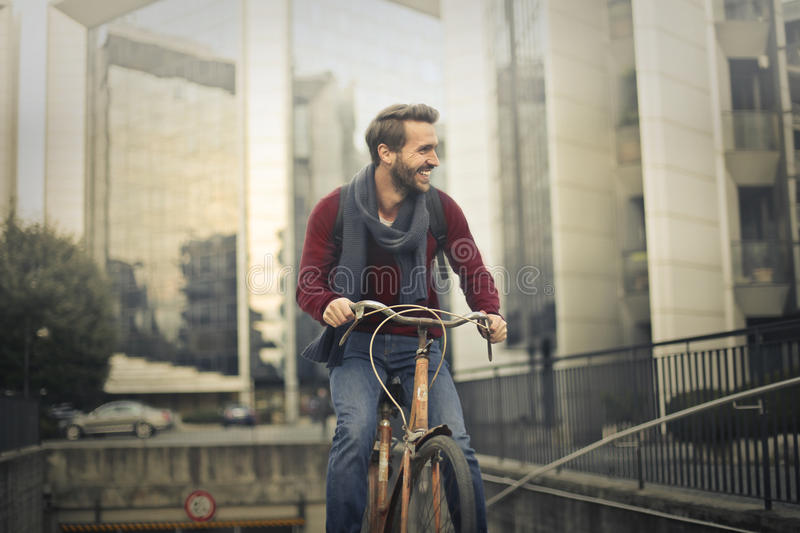 Man with bike stock photography