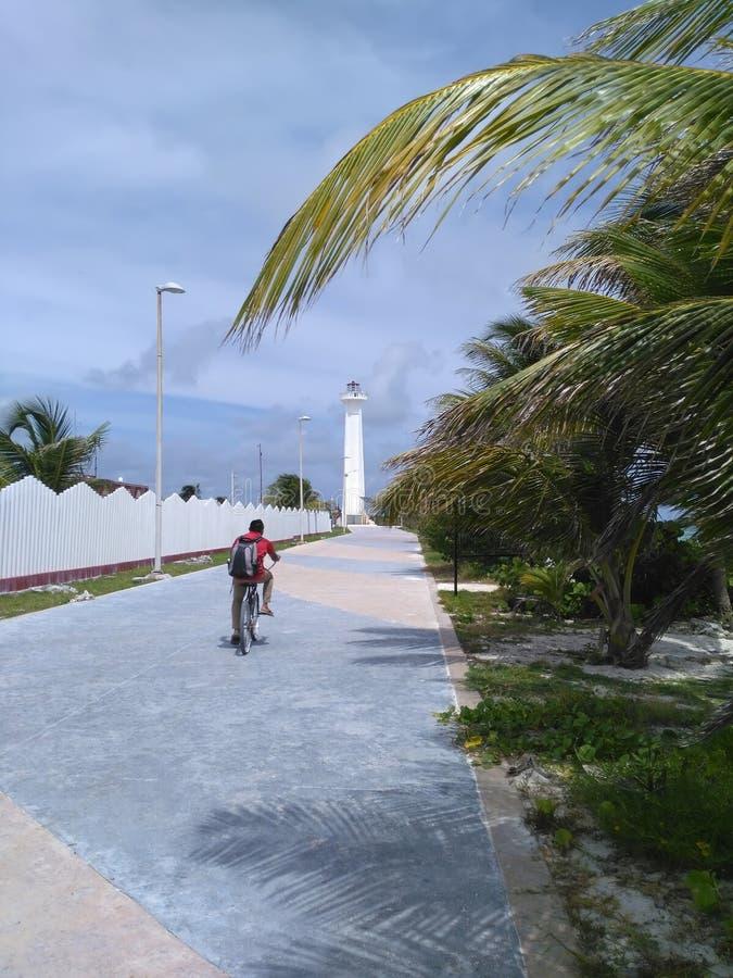 Man biking along the pathway towards lighthouse in tropics stock photography