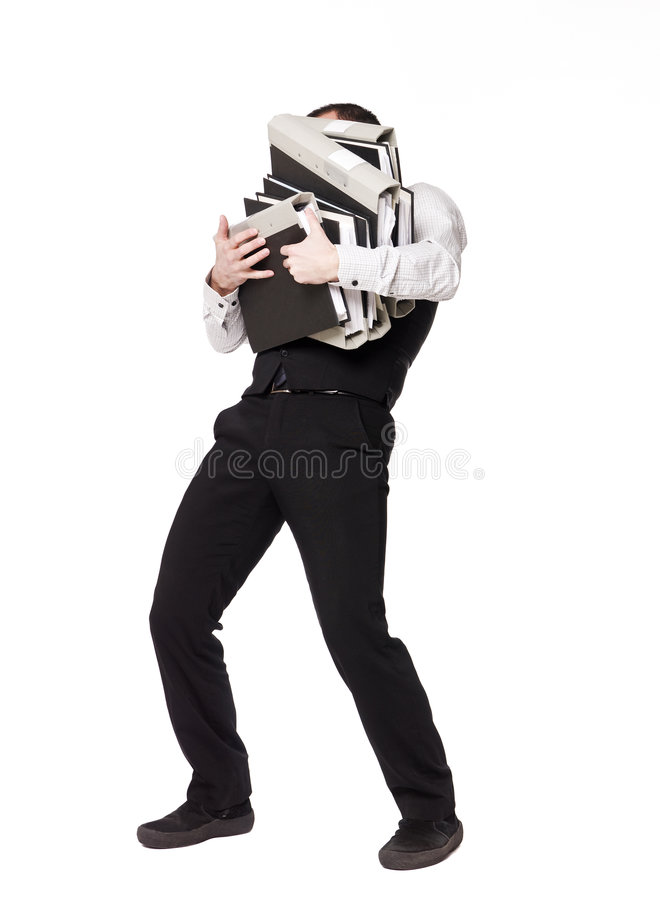Man with binders. Man with to much work stock images