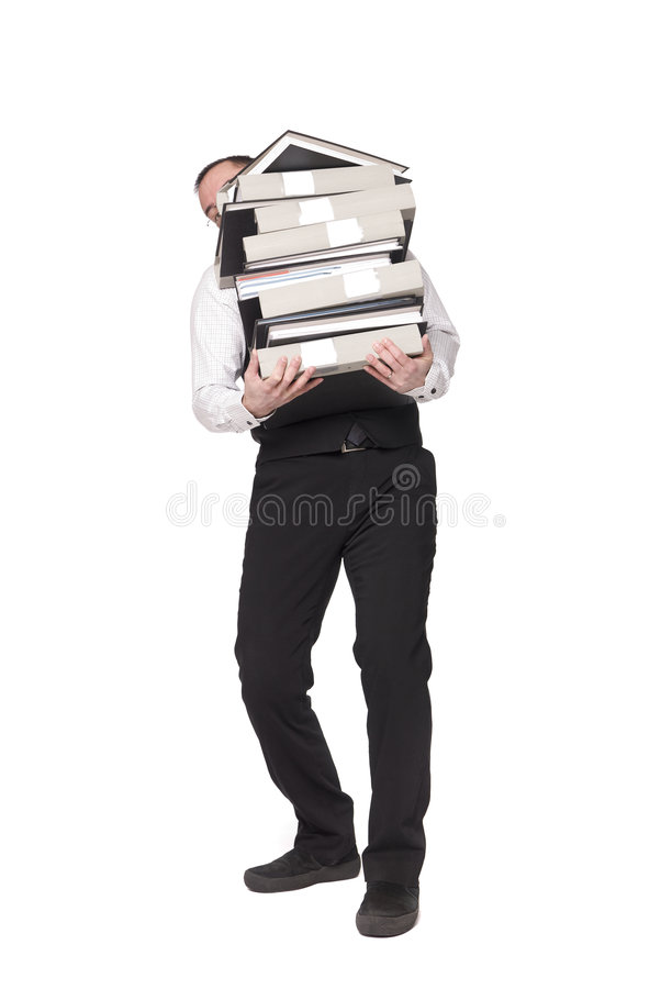 Man with binders. Man with to much work stock photo