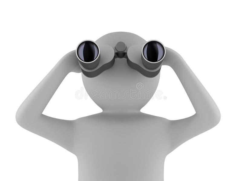 Man with binocular on white background stock illustration