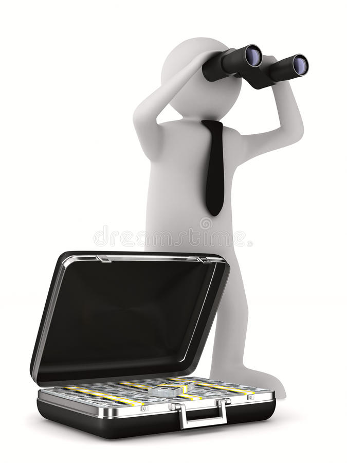 Man with binocular on white background vector illustration