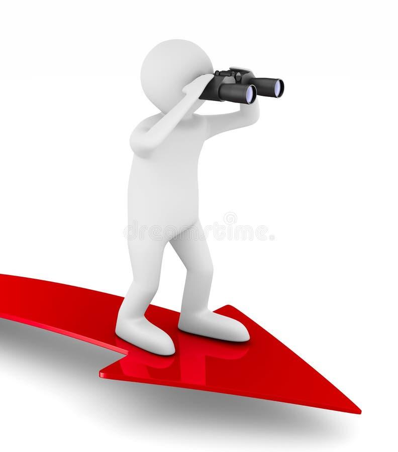 Man with binocular on white background. Isolated 3d illustration stock illustration