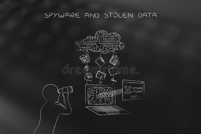 Man with binoculars spying on private data transfer, spyware threats. Man with binoculars spying on data trasmission from a laptop to cloud, concept of spyware royalty free stock photos