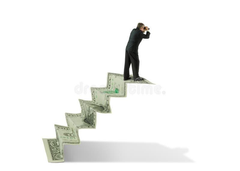 Man w binoculars on money stairs seeking financial success. Businessman with binoculars at the top of money stairs which represents seeking financial success stock image