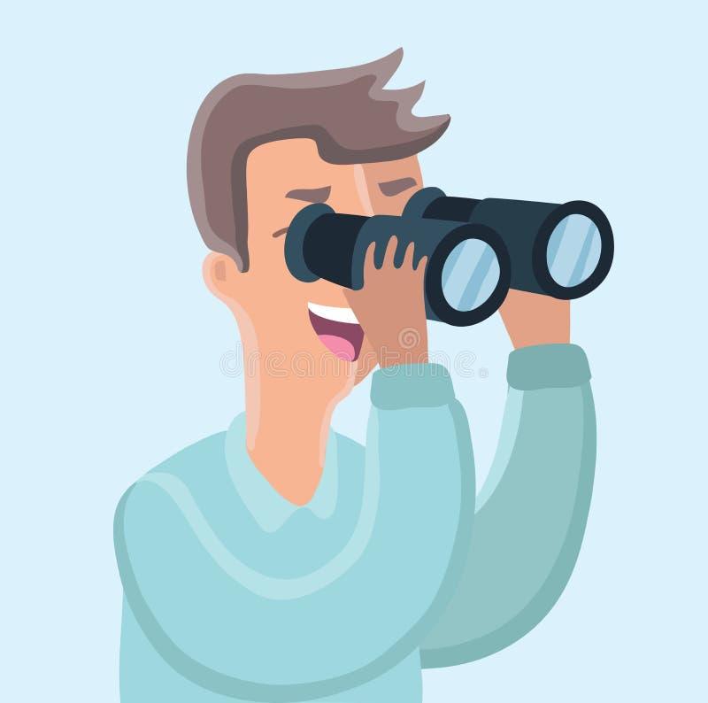 Man with binoculars. stock illustration
