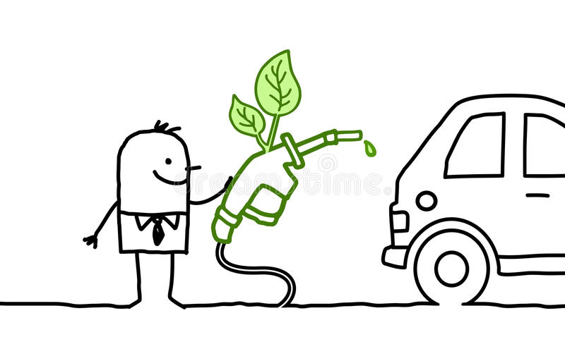Man & biofuel. Hand drawn cartoon characters - man & biofuel