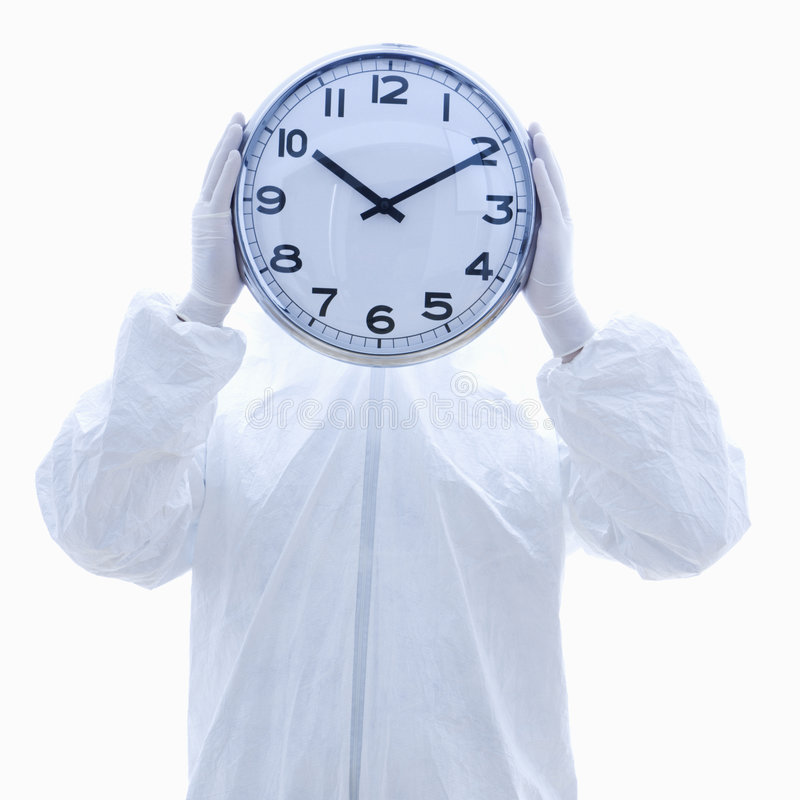 Download Man In Biohazard Suit Holding Clock. Stock Image - Image of destruction, square: 2042637