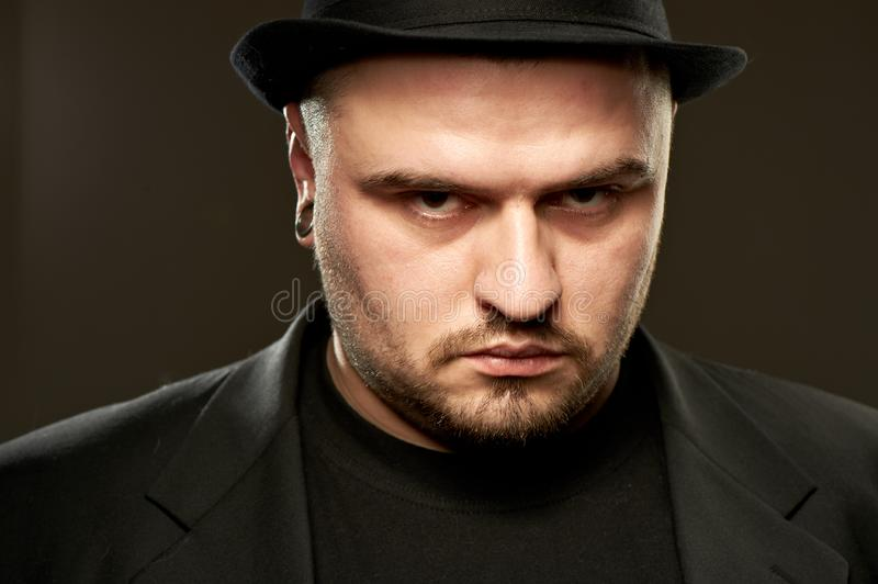 Man in black. stock photography