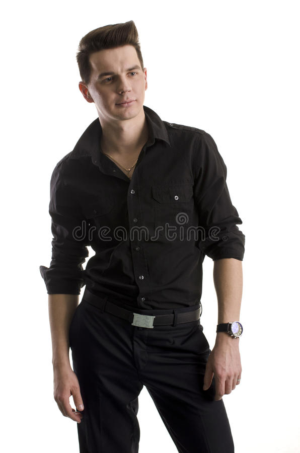 Download Man in black stock image. Image of dude, grunge, button - 22796811