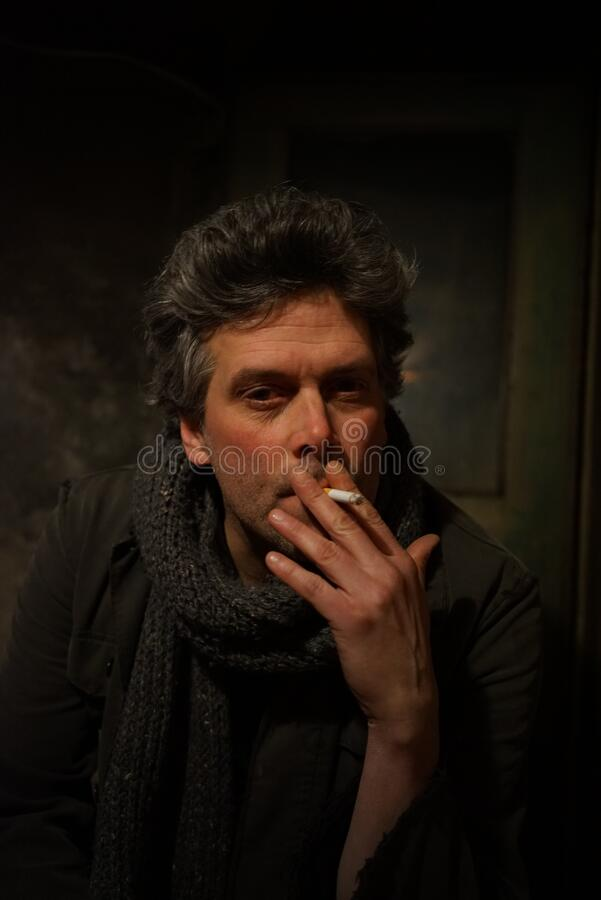 Man In Black Jacket With Gray Knit Scarf Smoking Free Public Domain Cc0 Image