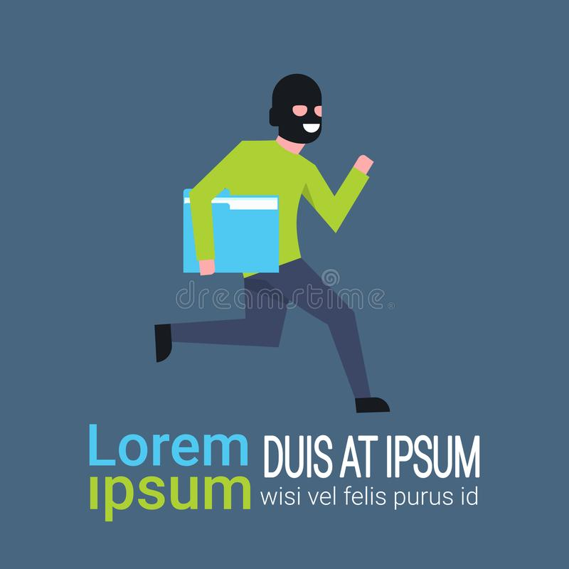 Man In Black Mask Tapped Folder Run Away Hacker Theft Private Information Flat. Vector illustration vector illustration