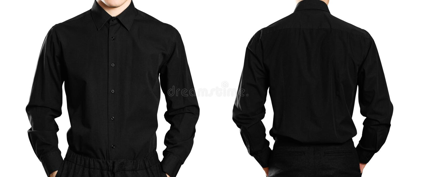 The man in the black shirt. Front and back. Close up. Isolated on white background stock images