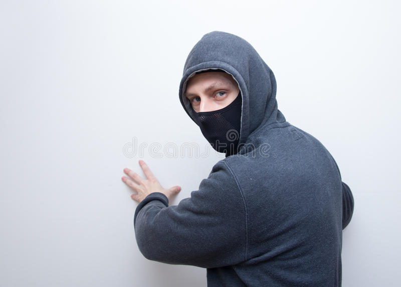 Man in black ski mask stock image