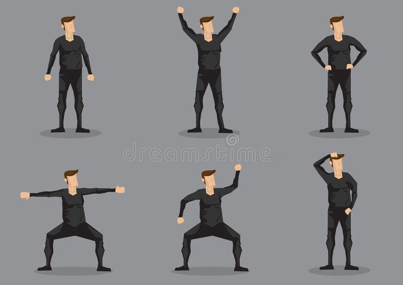 Man in Black Skin-tight Garment Vector Character Set stock illustration