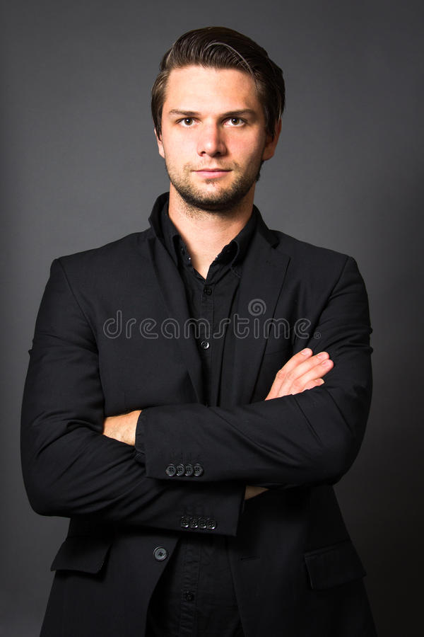 Man in Black Suit stock photography
