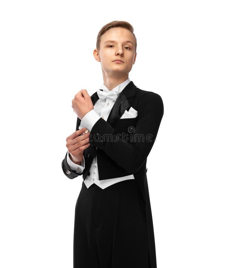 Ballroom dancer in tuxedo with bow tie stock photography