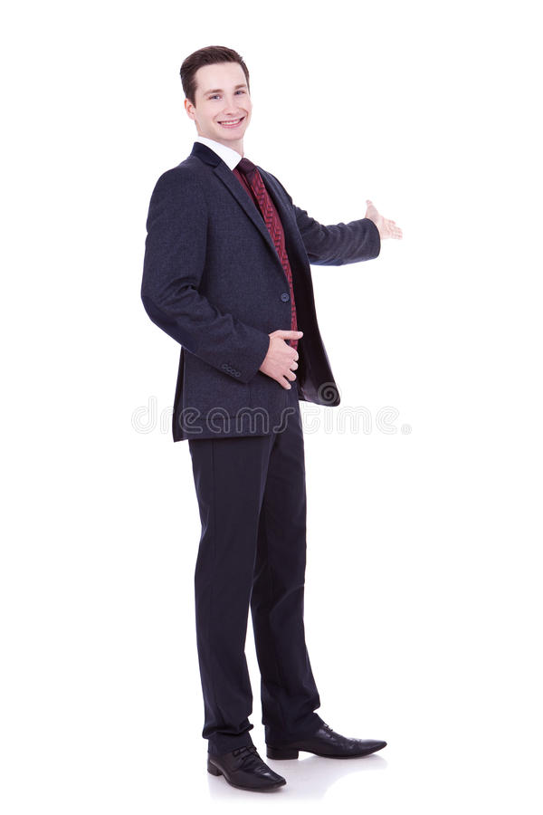 Man In Black Suit Making Presentation Royalty Free Stock Images