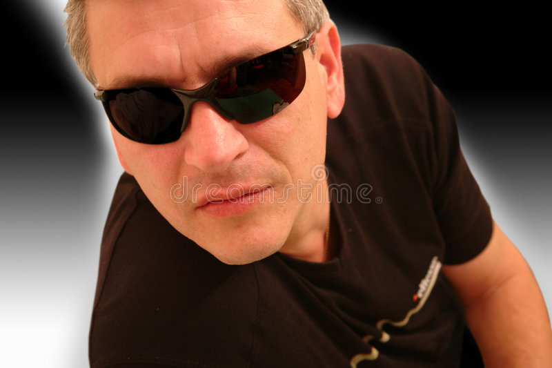 Man with black sunglasses stock images