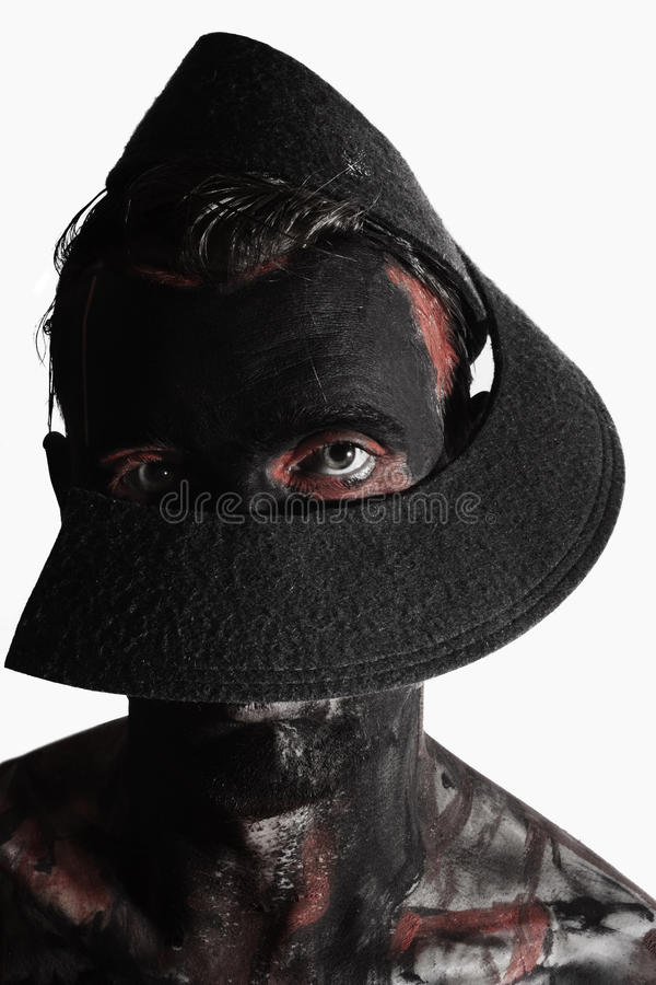 Download Man With Black Theatrical Make-up Stock Photo - Image: 25969462
