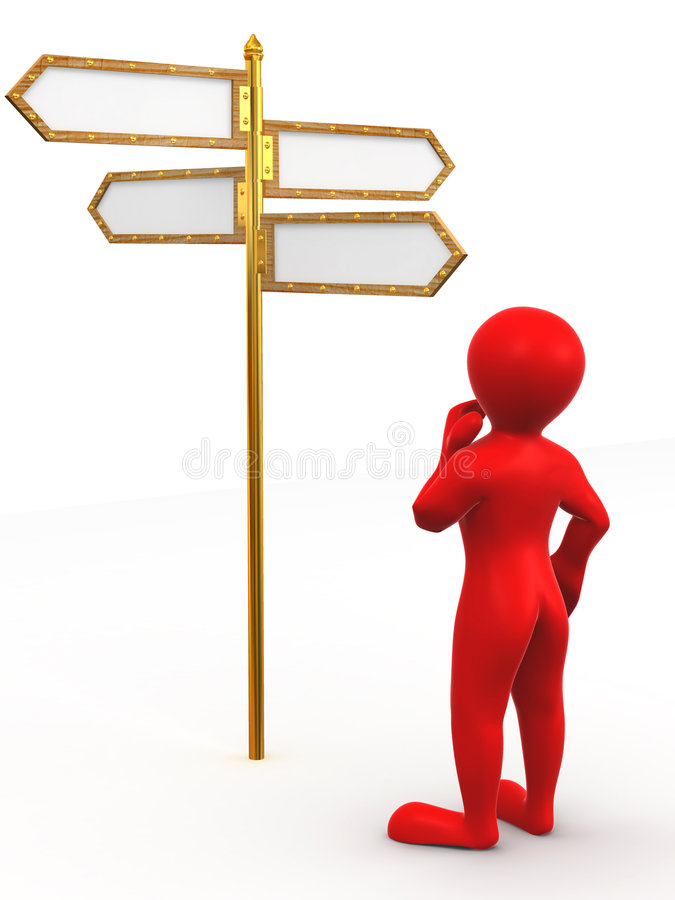 Download Man And Blank Arrows Directions Stock Illustration - Image: 7510827