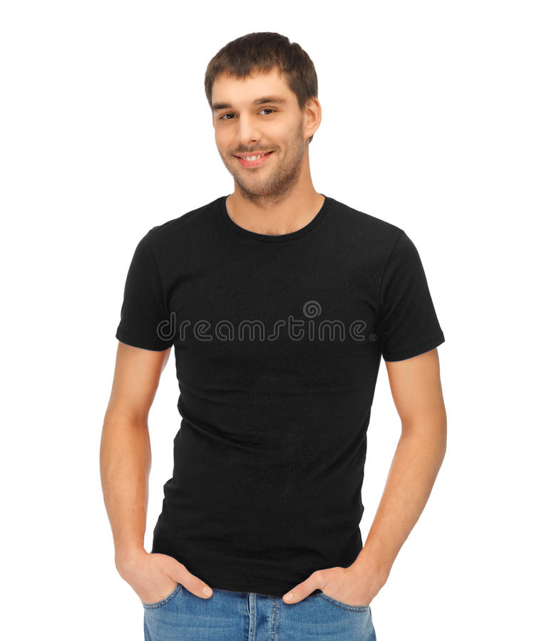 Man in blank black t-shirt stock image. Image of front - 35978393