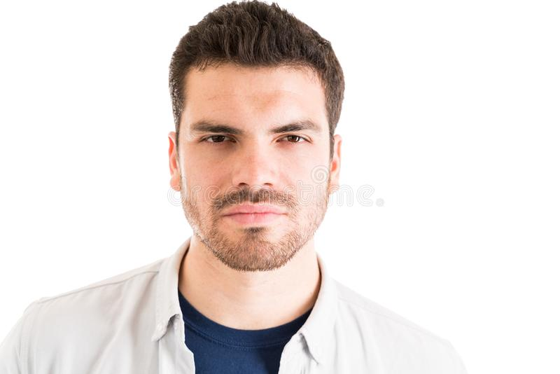 Man With Blank Expression In Studio stock photos