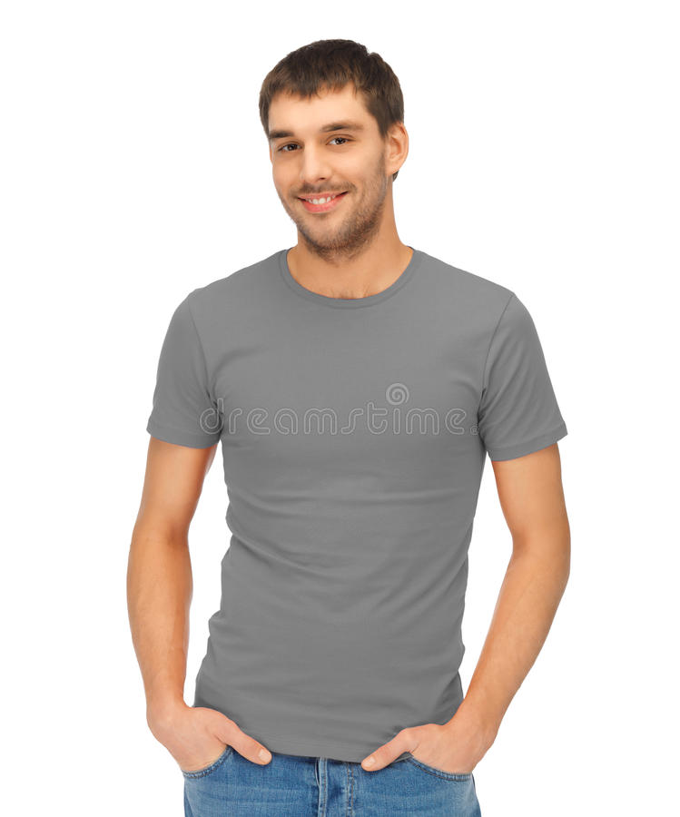 Man in blank grey t-shirt stock image