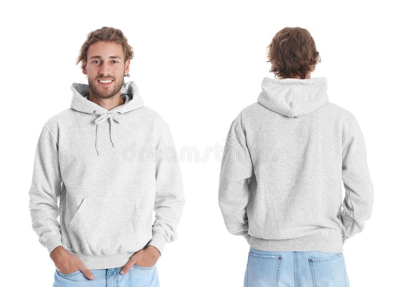 Man in blank hoodie sweater on white background, front and back views. stock images