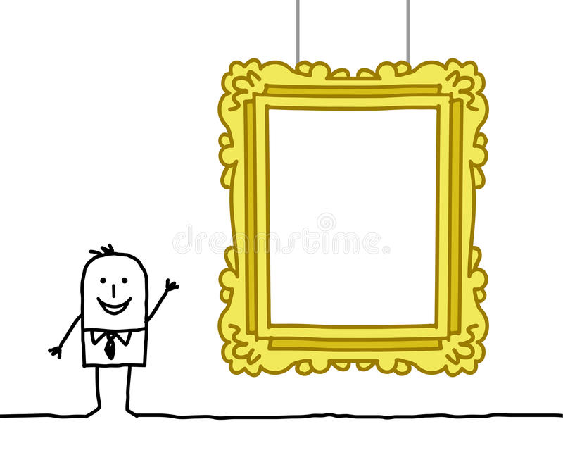 Download Man & blank museum frame stock vector. Illustration of exhibition - 13291911