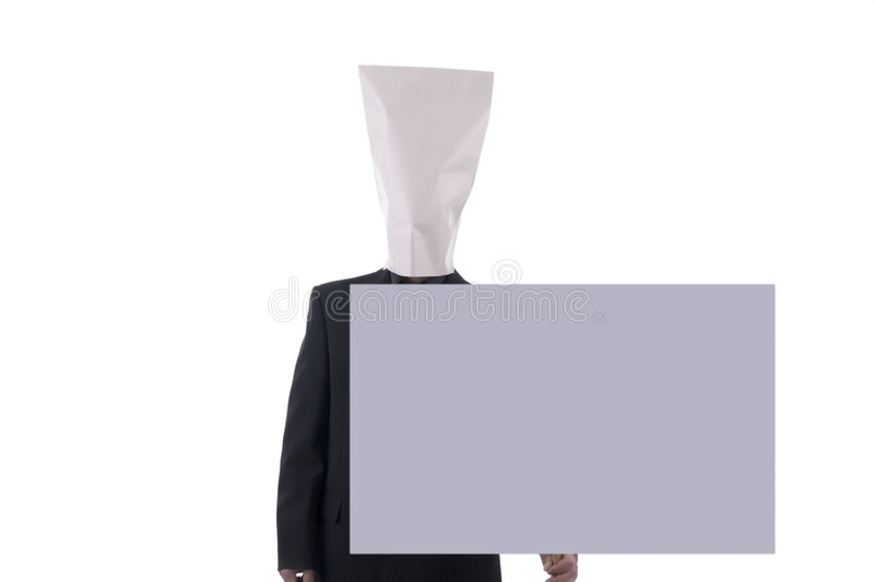 Man with blank sign. stock photo