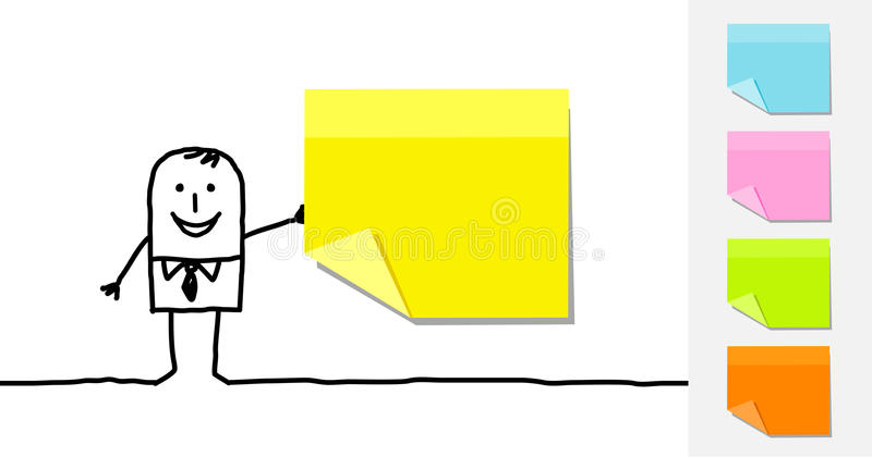 Download Man and blank sticky notes stock vector. Illustration of line - 14860182