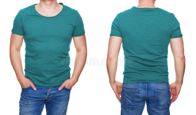 Man in blank turquoise tshirt front and rear isolated on white. T-shirt design - man in blank turquoise tshirt front and rear isolated on white stock image