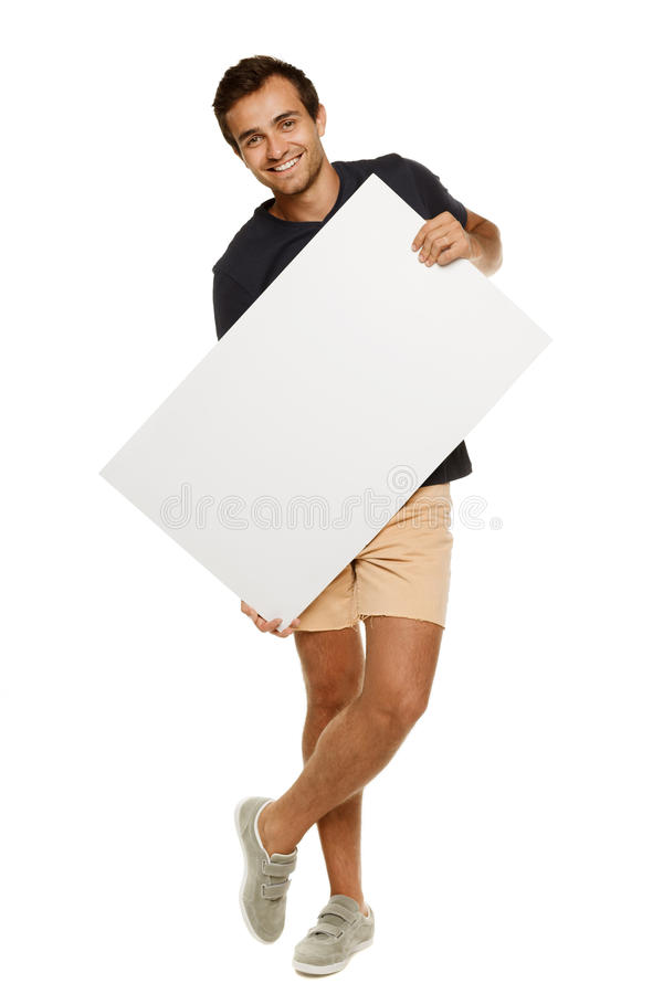 Download Man with blank whiteboard stock image. Image of legs - 26306693