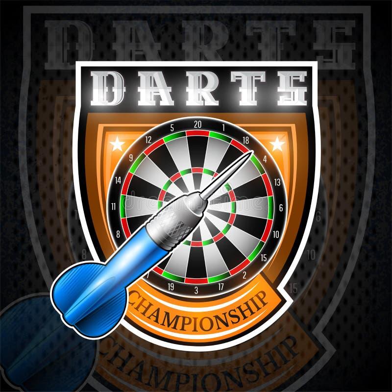 Man blau schießt mit rundem Ziel in der Mitte des Schildes Sportlogo für irgendein Pfeilspiel oder -meisterschaft lizenzfreie abbildung