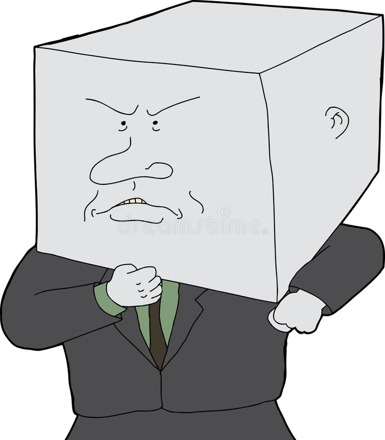 Man with Block Head. Stubborn business person with block head cartoon royalty free illustration
