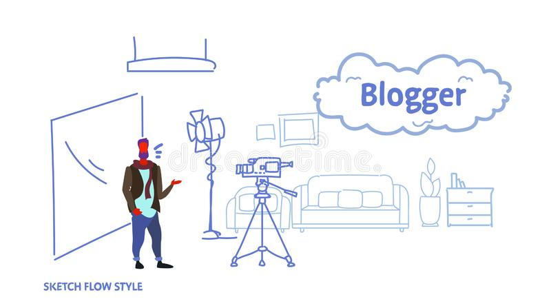 Man blogger recording video on camera guy standing modern home living room interior social media blog concept full vector illustration