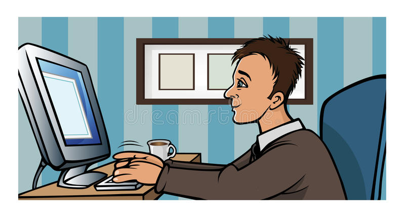 Download Man blogging computer stock vector. Illustration of cartoon - 14606271