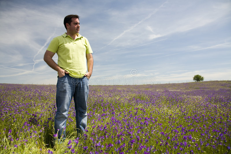 Download Man at the blooming meadow stock image. Image of freedom - 5146257